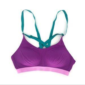VSX lightweight crossed back bra pink turquoise